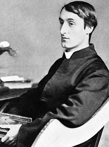 Black and white photograph of Gerard Manley Hopkins