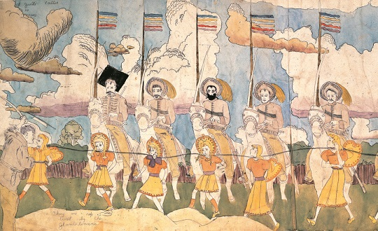 Watercolor collage by Henry Darger