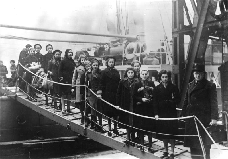 A group of Polish Jewish refugee children standing on a ship's gangway in London