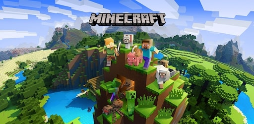 Minecraft gameplay featuring blocky, pixelated human and animal characters