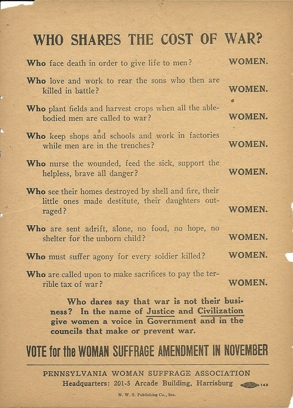 Flyer for 1916 referendum detailing women's wartime sacrifices