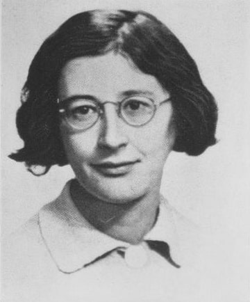 Black and white photo of Simone Weil