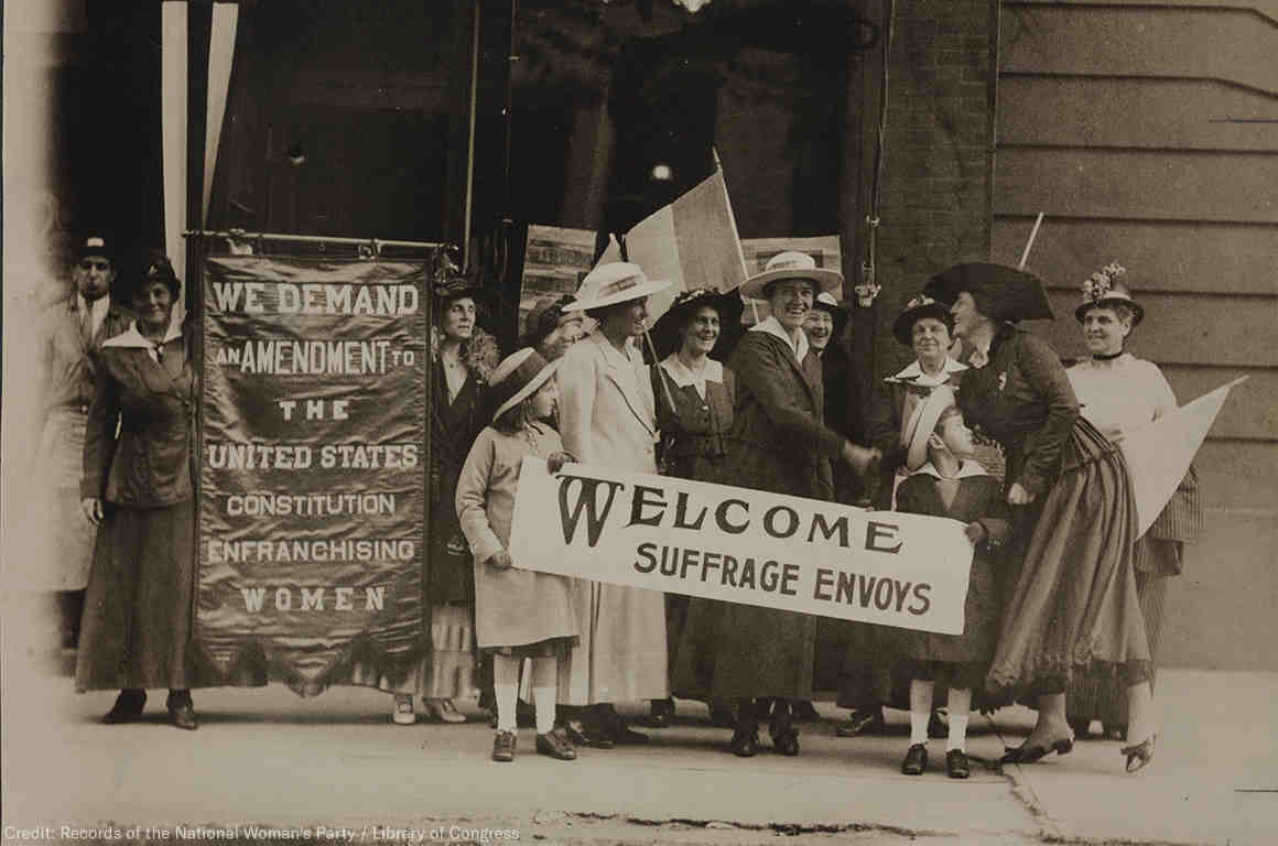 Women marching for suffrage, 1915